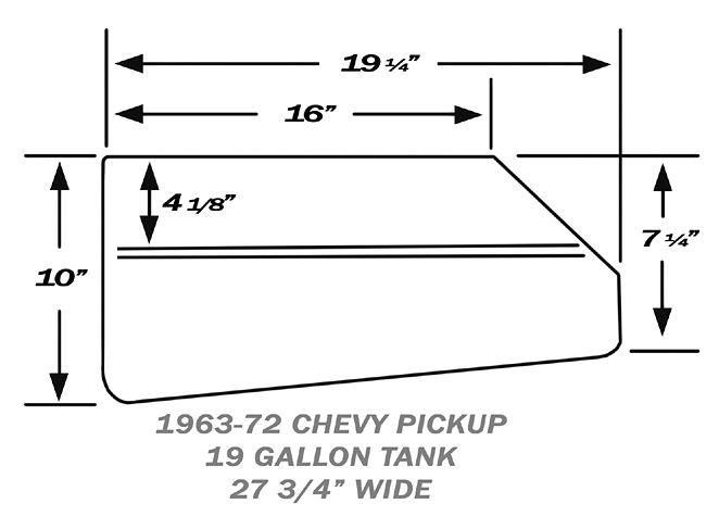 1963-72 Chevy, GMC Truck Aluminum Fuel Gas Tank, 19 Gallon