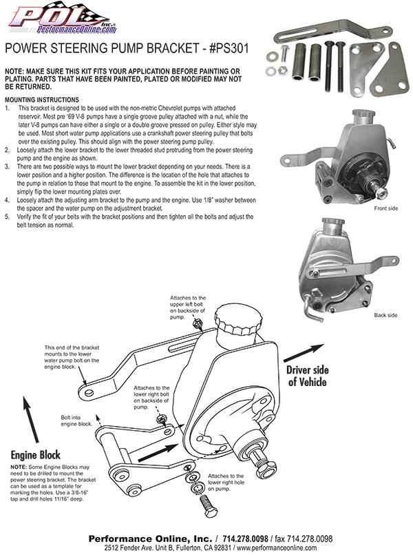 Power Steering Pump Bracket Kit  Small Block Chevy Engine