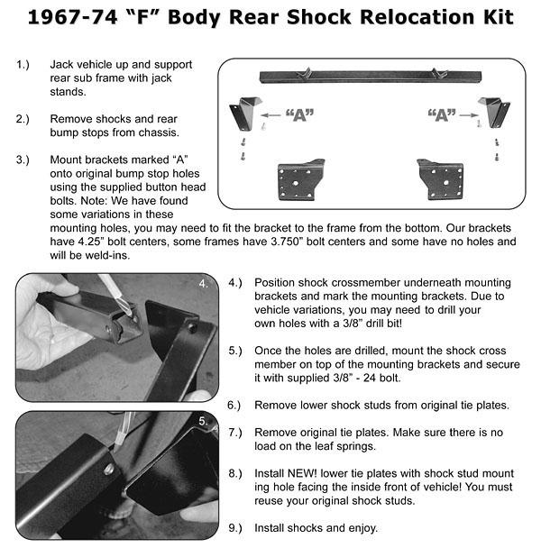 67-69 Camaro Firebird Upper Rear Shock Mount Plate