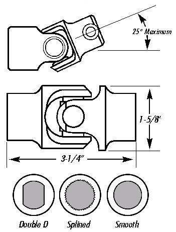 Borgeson - Single Needle Bearing Steering Universal Joint