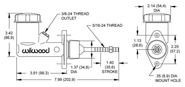 Wilwood Integral Reservoir Compact Aluminum Clutch Master Cylinder