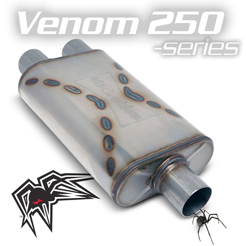 Black Widow Pro Venom 250 Exhaust Muffler, Single In Dual Out