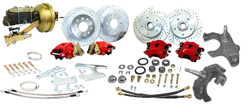 "1955-57 Chevy Belair Power Disc Brake Conversion Kit, Front and Rear, 2"" Drop Spindles"