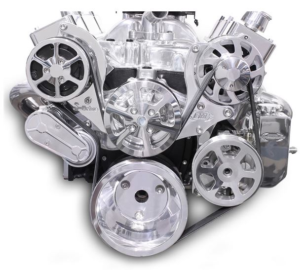 6 Rib Serpentine Pulley Kit w/ Billet PS Reservoir, Polished Finish Chevy Small Block