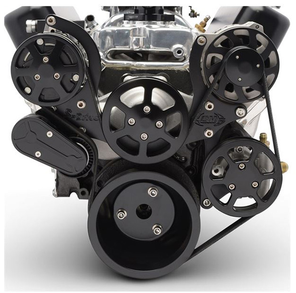 6 Rib Serpentine Pulley Kit w/ Remote PS Reservoir, Matte Black Finish - Small Block Chevy