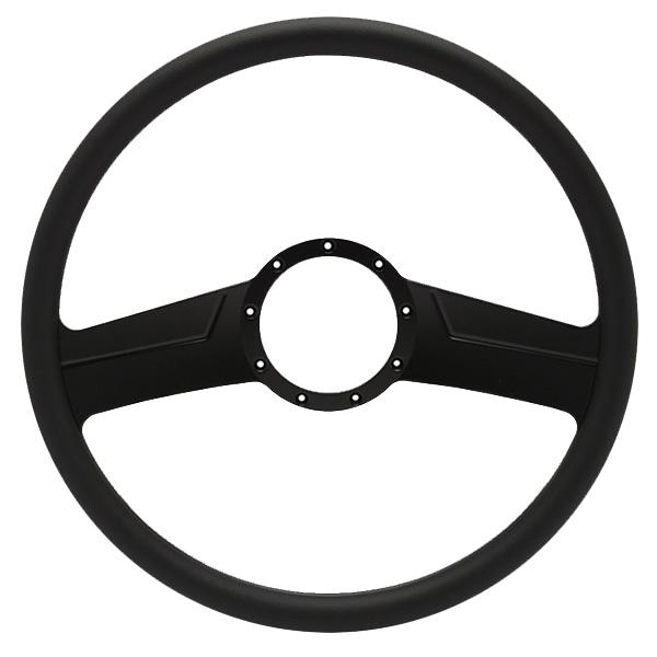 """Vintage Billet 15"""" 2-Spoke Steering Wheel - Black Out Spokes and Grip, Eddie Motorsports"""