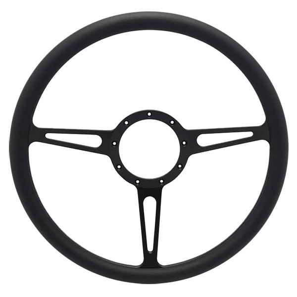 """Classic Billet 15"""" 3-Spoke Steering Wheel - Black Out Spokes and Grip, Eddie Motorsports"""