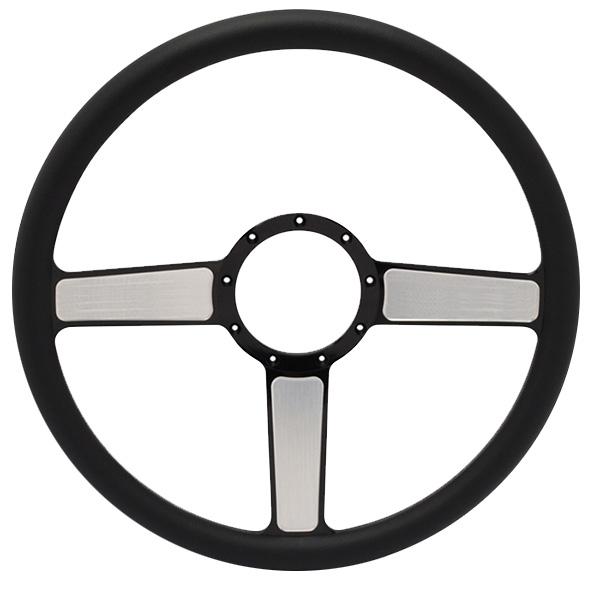 """Linear Billet 15"""" 3-Spoke Steering Wheel - Black Out Spokes and Grip, Eddie Motorsports"""