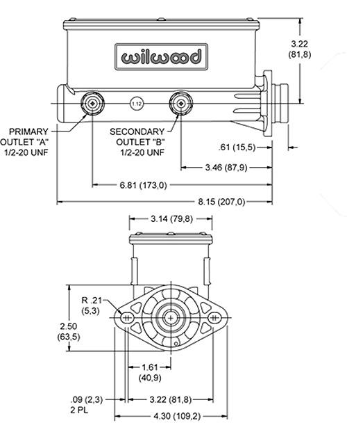 Wilwood Master Cylinder, Aluminum Tandem Chamber, Disc Brake Conversion