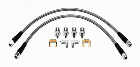 Wilwood - Disc Brake Hose Kit, Front, Braided Stainless Wilwood Calipers, 65-69 Ford Mustang