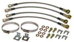 Front and Rear Disc Brake Hose Kit, Stainless Hoses