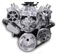 6 Rib Serpentine Pulley Kit w/ Remote PS Reservoir, Polished Finish - Small Block Chevy