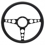 "Racer Billet 15"" Steering Wheel - Black Out Spokes and Grip, Eddie Motorsports"