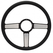 "Linear Billet 15"" 3-Spoke Steering Wheel - Black Out Spokes and Grip, Eddie Motorsports"