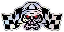 POL, Performance Online Die Cut Hologram Skull Sticker