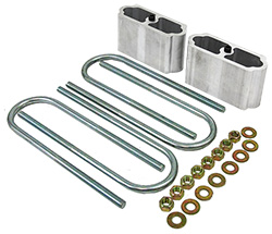 Leaf Spring Lowering Block Kit, Extruded Aluminum
