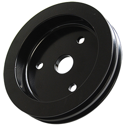 SMALL BLOCK CHEVY SWP CRANKSHAFT PULLEY, BLACK POWDER COATED ALUMINUM 2 GROOVE
