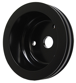 SMALL BLOCK CHEVY LWP CRANKSHAFT PULLEY, BLACK POWDER COATED ALUMINUM 2 GROVE