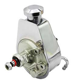 Saginaw Power Steering Pump, Chrome with Billet Cap
