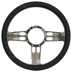 "Billet Steering Wheel, Chromed 14"" T-Bar Style with Black Leather Grip"