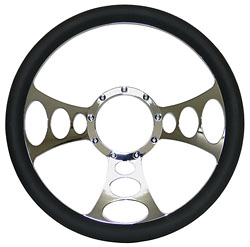 "Billet Steering Wheel, Chromed 14"" Web Style with Simulated Black Leather Grip"