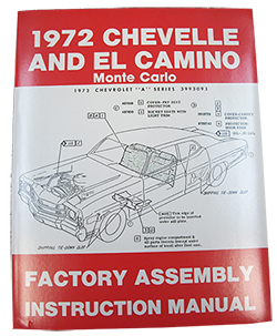 1972 CHEVY CHEVELLE & EL CAMINO FACTORY ASSEMBLY MANUAL