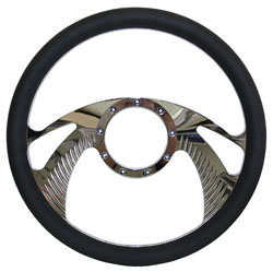"Billet Steering Wheel, Chromed 14"" Wing Style with Simulated Black Leather Grip"