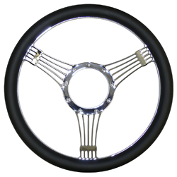"Billet Steering Wheel, Chromed 14"" Banjo Style with Simulated Black Leather Grip"
