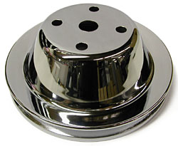 SMALL BLOCK CHEVY LONG WATER PUMP PULLEY, CHROME SINGLE GROOVE
