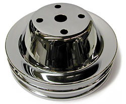 SMALL BLOCK CHEVY LONG WATER PUMP PULLEY, CHROME 2 GROOVE