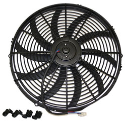 "Electric Fan, 16"" Universal Super Thin Electric Cooling Fan, Reversible Black, 12 Volt"