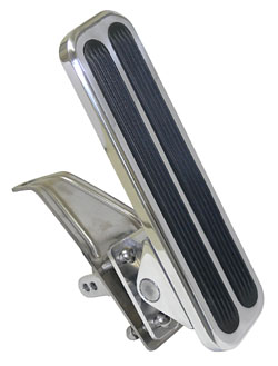 Gas Pedal, Polished Aluminum with Vertical Inserts, Floor mount