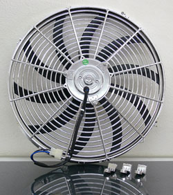 "Electric Fan, 16"" Universal Super Thin Electric Cooling Fan, Reversible Chrome, 12 Volt"